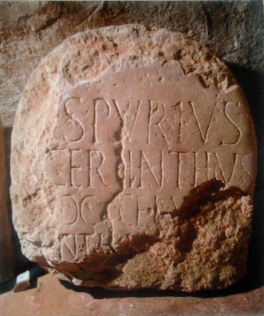 Il cippo di epoca romana trovato a Ciggiano,in loc. S.Caterina
